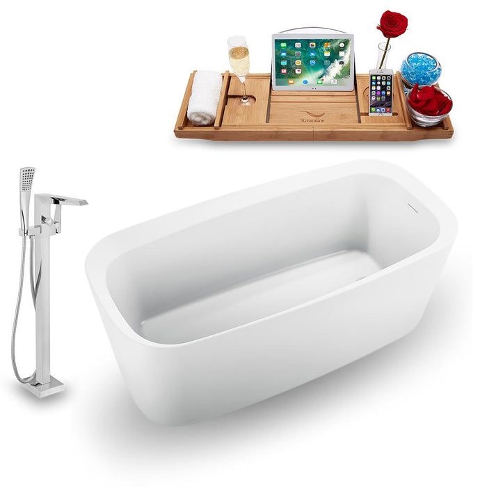 "59"" Streamline N1640WH-100 Freestanding Tub and Tray with Internal Drain"