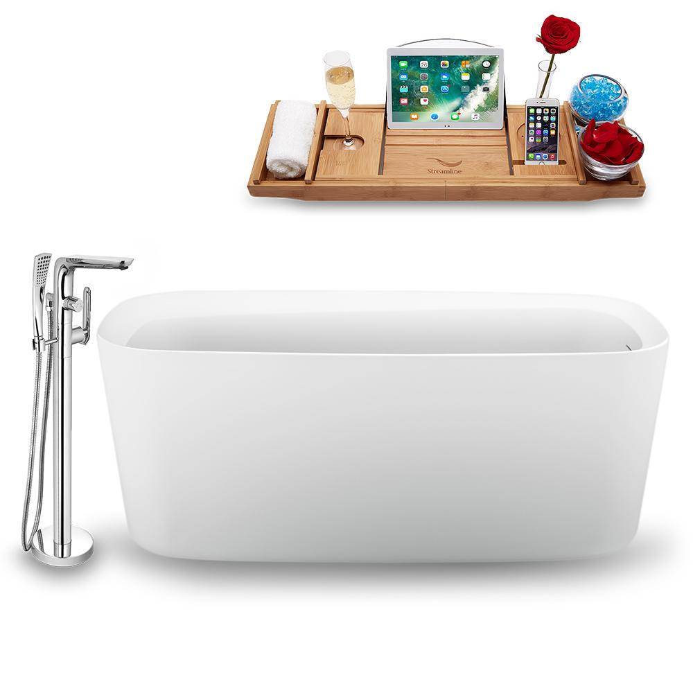 "59"" Streamline N1640WH-120 Freestanding Tub and Tray with Internal Drain"