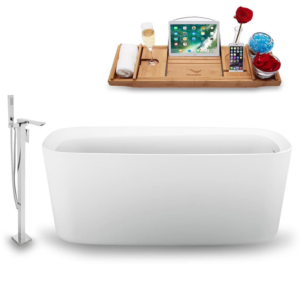 "59"" Streamline N1640WH-140 Freestanding Tub and Tray with Internal Drain"