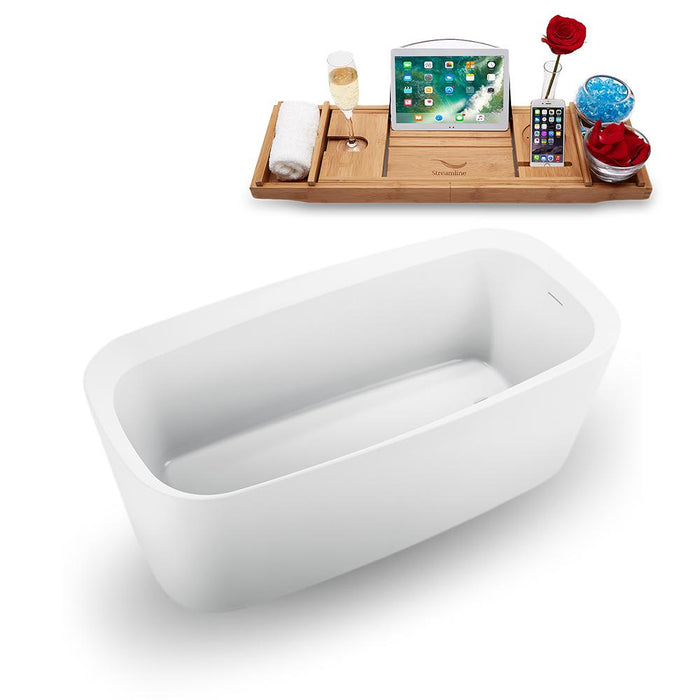 "59"" Streamline N1640WH Freestanding Tub and Tray with Internal Drain"
