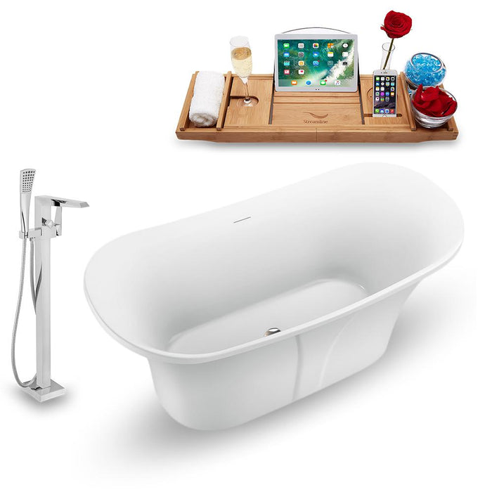 "59"" Streamline N1660BNK-100 Freestanding Tub and Tray with Internal Drain"