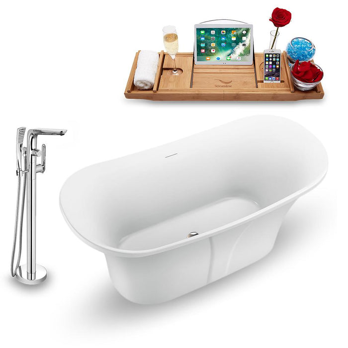 "59"" Streamline N1660BNK-120 Freestanding Tub and Tray with Internal Drain"