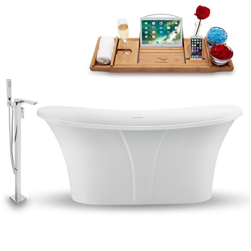 "59"" Streamline N1660WH-140 Freestanding Tub and Tray with Internal Drain"