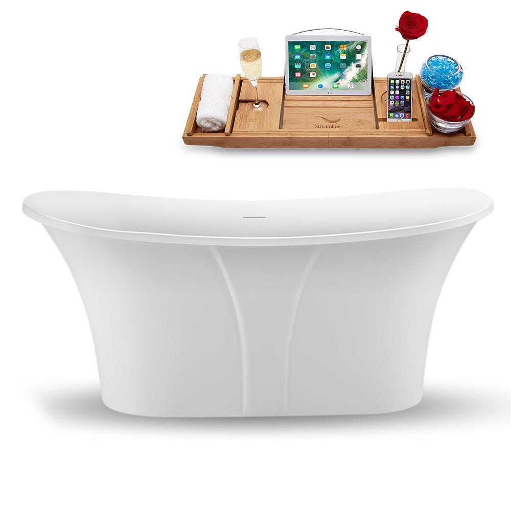 "59"" Streamline N1660WH Freestanding Tub and Tray with Internal Drain"