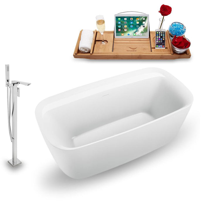 "59"" Streamline N1700WH-140 Freestanding Tub and Tray with Internal Drain"