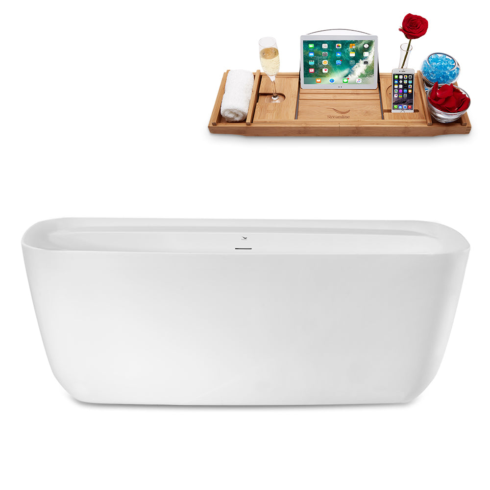 "67"" Streamline N1701WH Freestanding Tub and Tray With Internal Drain"