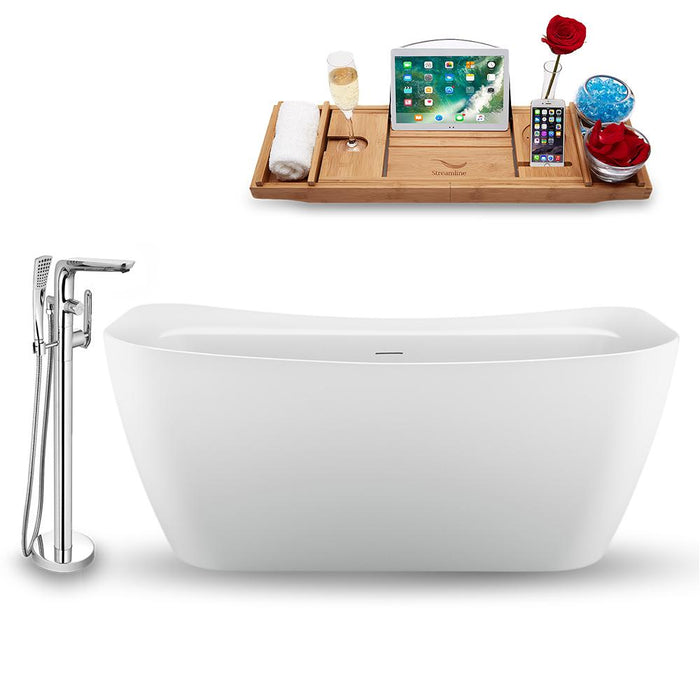 "59"" Streamline N1720CH-120 Freestanding Tub and Tray with Internal Drain"