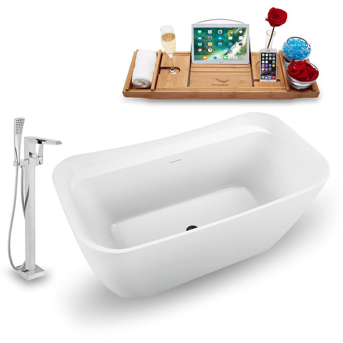 "59"" Streamline N1720ROB-100 Freestanding Tub and Tray with Internal Drain"