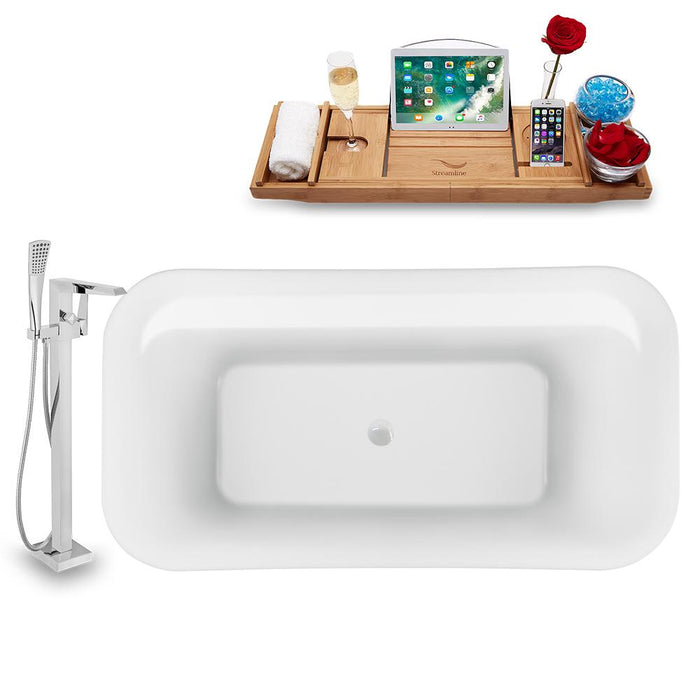 "59"" Streamline N1720WH-100 Freestanding Tub and Tray with Internal Drain"