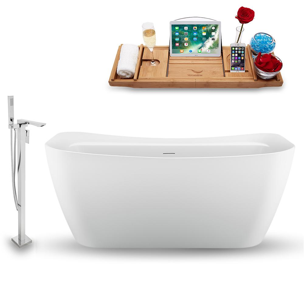 "59"" Streamline N1720WH-140 Freestanding Tub and Tray with Internal Drain"