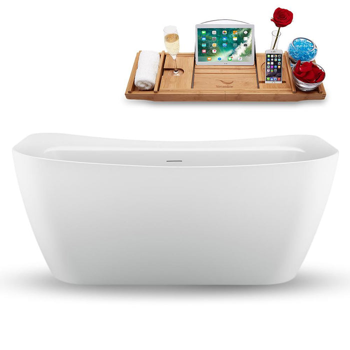 "59"" Streamline N1720WH Freestanding Tub and Tray with Internal Drain"
