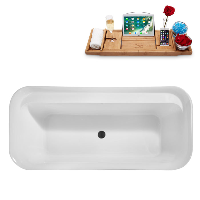 "67"" Streamline N1721BL Freestanding Tub and Tray With Internal Drain"