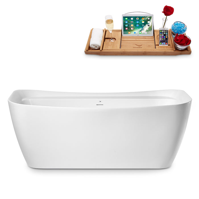 "67"" Streamline N1721ROB Freestanding Tub and Tray With Internal Drain"