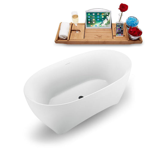 "59"" Streamline N1740BL Freestanding Tub and Tray with Internal Drain"