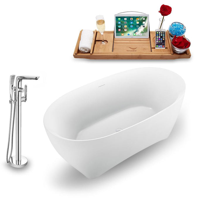 "59"" Streamline N1740WH-120 Freestanding Tub and Tray with Internal Drain"
