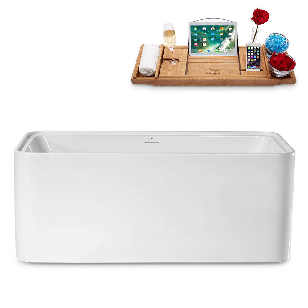 "59"" Streamline N2002CH Freestanding Tub and Tray With Internal Drain"