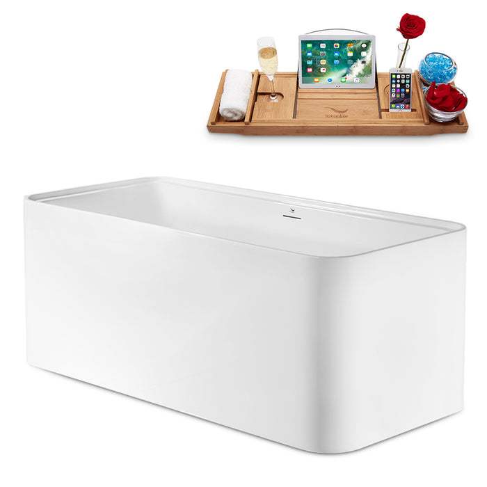 "59"" Streamline N2002WH Freestanding Tub and Tray With Internal Drain"