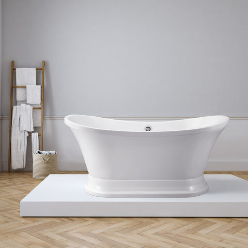 "60"" Streamline N200CH Soaking Freestanding Tub and Tray With External Drain"