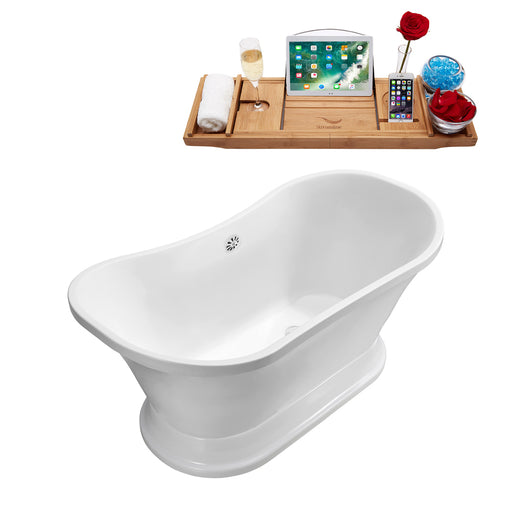 "68"" Streamline N201WH Soaking Freestanding Tub and Tray With External Drain"