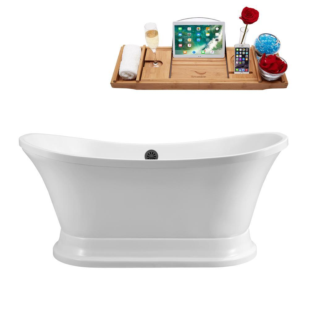 "68"" Streamline N201BL Soaking Freestanding Tub and Tray With External Drain"