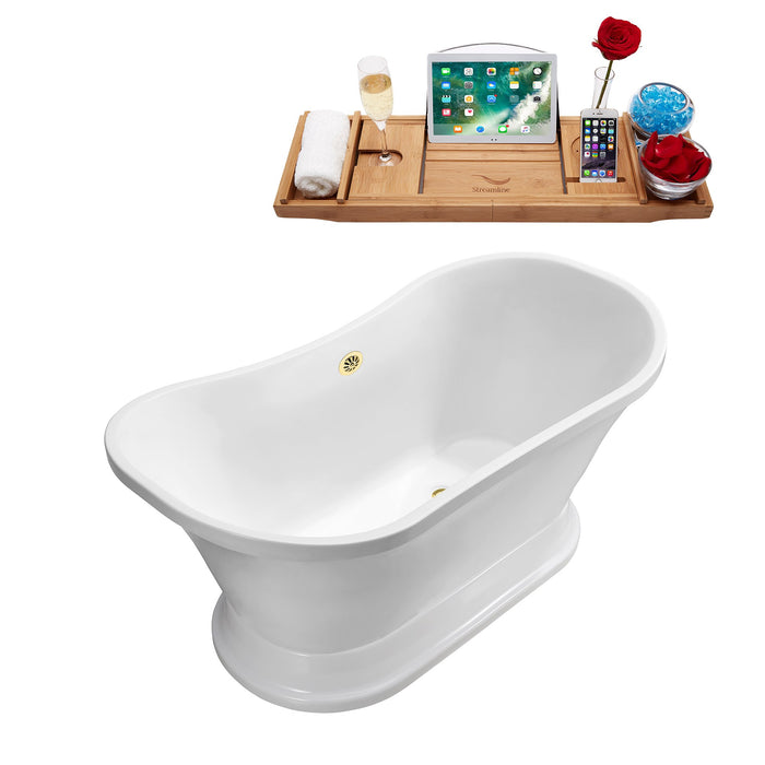 "68"" Streamline N201GLD Soaking Freestanding Tub and Tray With External Drain"