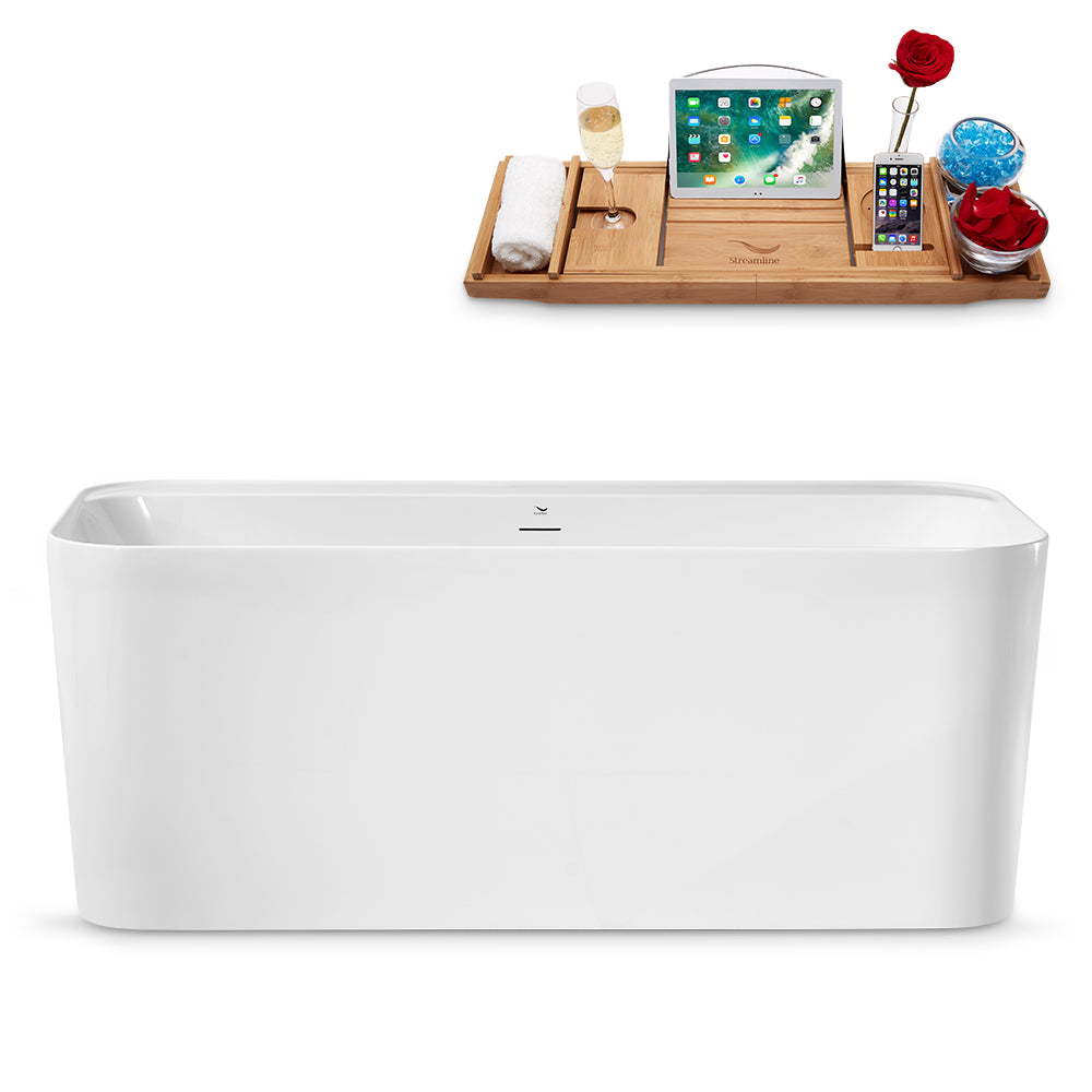 "59"" Streamline N2100BL Freestanding Tub and Tray With Internal Drain"