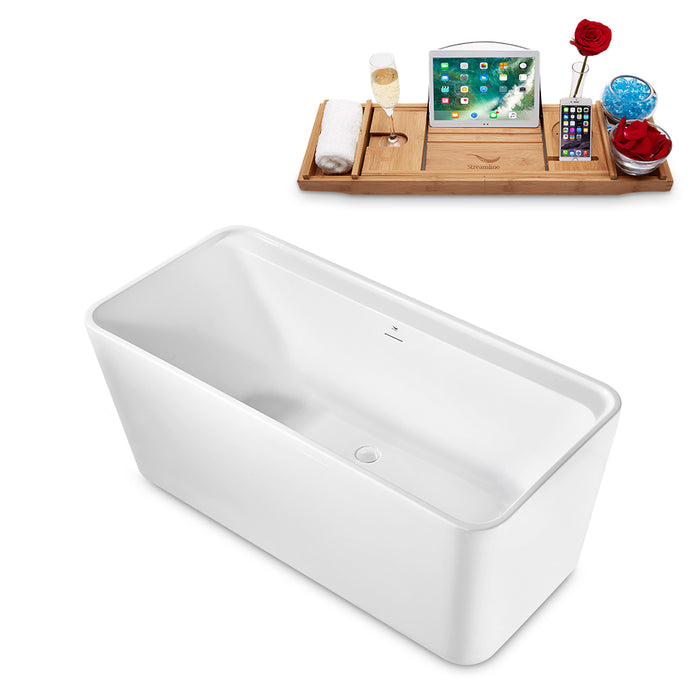 "59"" Streamline N2140WH Freestanding Tub and Tray With Internal Drain"
