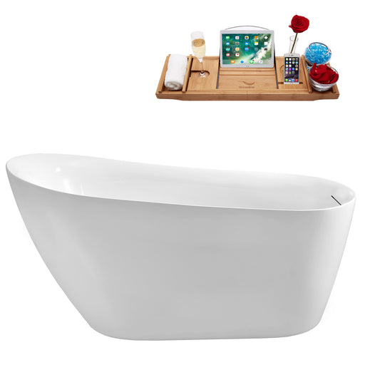 59'' Streamline N290BNK Freestanding Tub and Tray with Internal Drain
