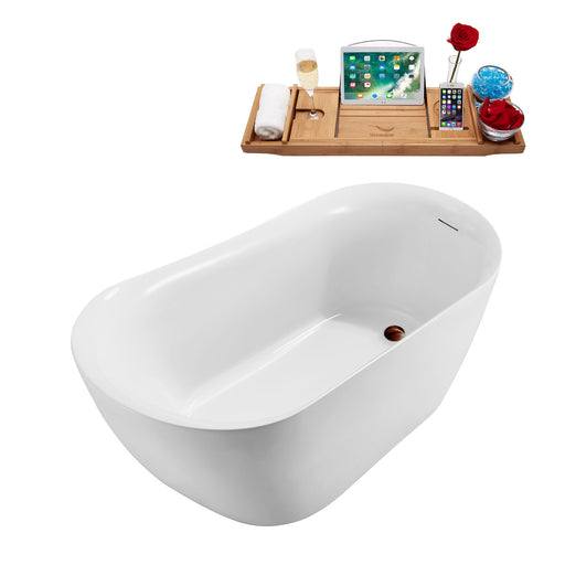 59'' Streamline N290ORB Freestanding Tub and Tray With Internal Drain