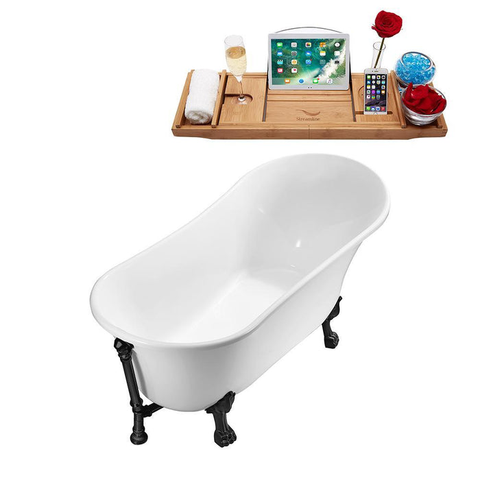 "67"" Streamline N340BL-BL Soaking Clawfoot Tub and Tray With External Drain"
