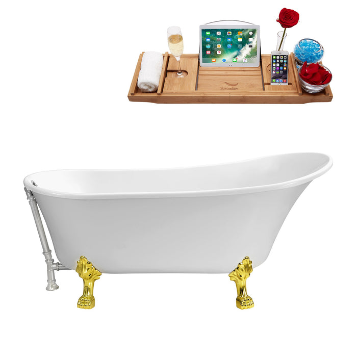 "67"" Streamline N340GLD-CH Soaking Clawfoot Tub and Tray With External Drain"
