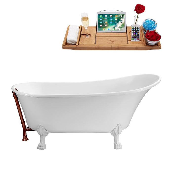 "67"" Streamline N340WH-ORB Soaking Clawfoot Tub and Tray With External Drain"