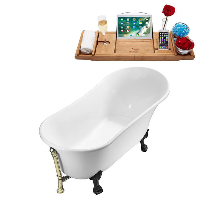 "59"" Streamline N341BL-BNK Soaking Clawfoot Tub and Tray With External Drain"
