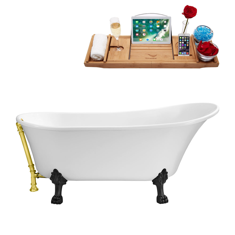 "59"" Streamline N341BL-GLD Soaking Clawfoot Tub and Tray With External Drain"