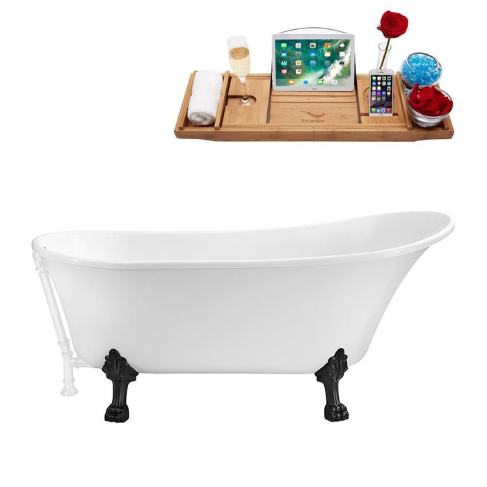"59"" Streamline N341BL-WH Soaking Clawfoot Tub and Tray With External Drain"