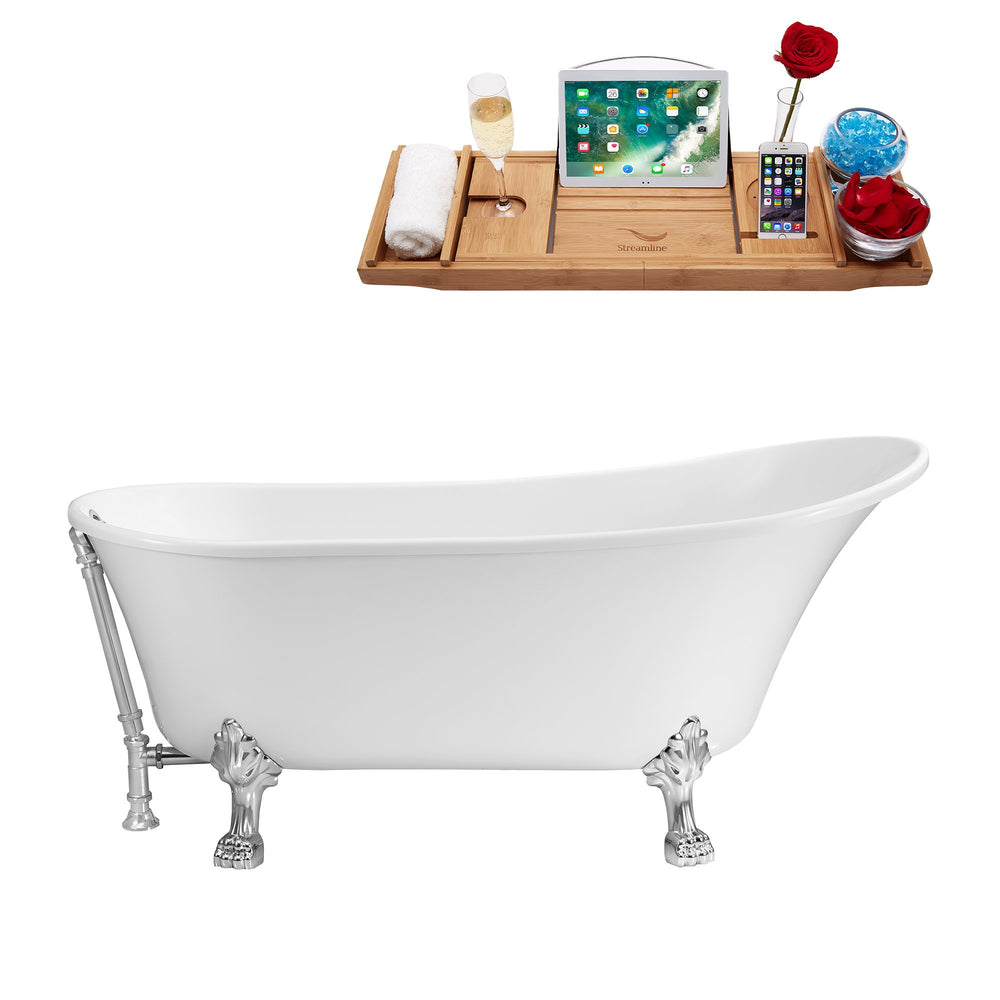 "59"" Streamline N341CH-CH Soaking Clawfoot Tub and Tray With External Drain"