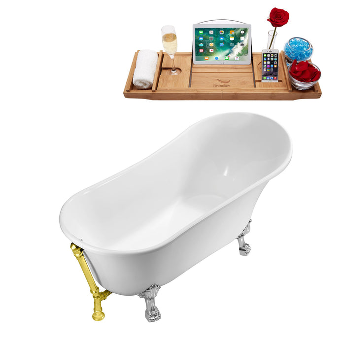 "59"" Streamline N341CH-GLD Soaking Clawfoot Tub and Tray With External Drain"