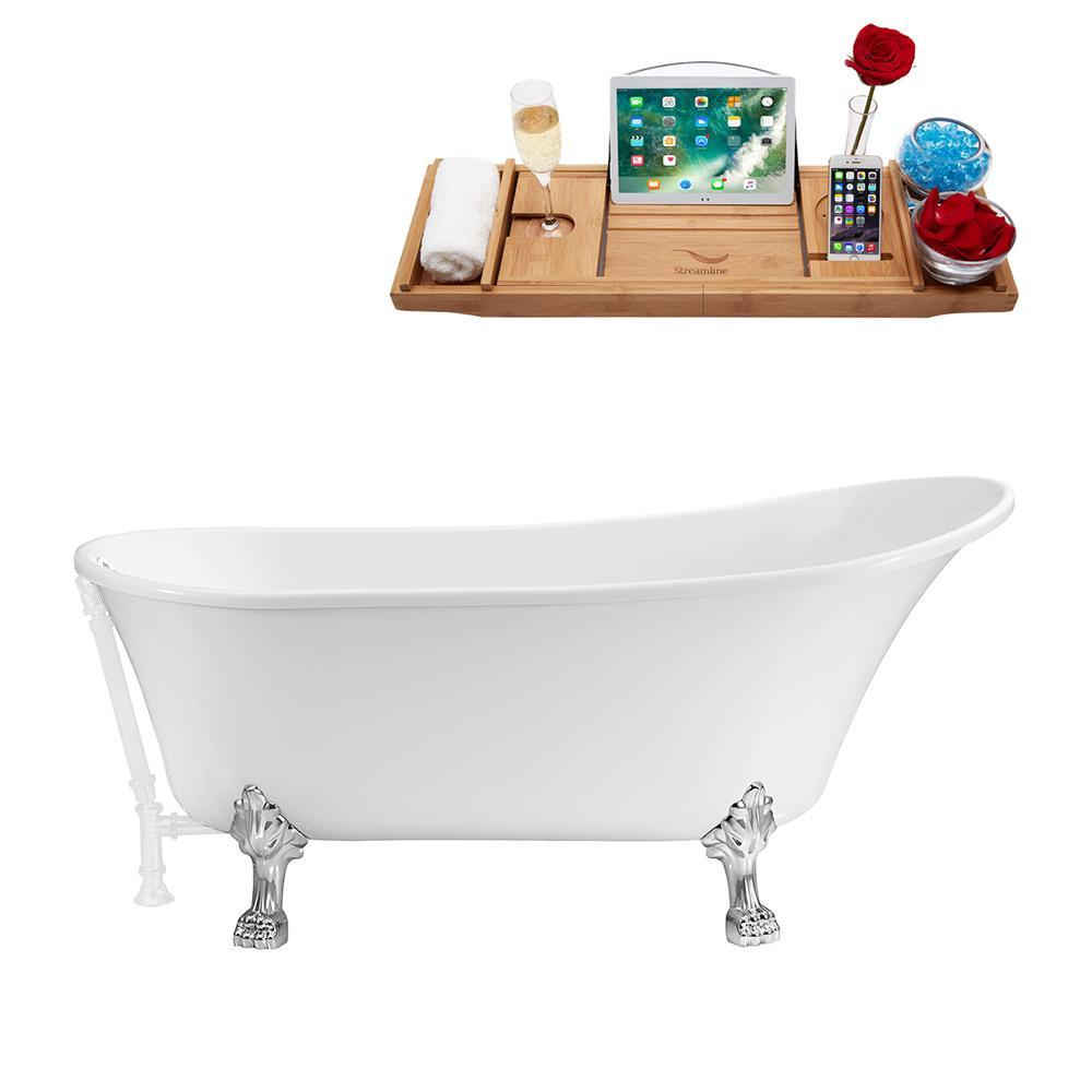 "59"" Streamline N341CH-WH Soaking Clawfoot Tub and Tray With External Drain"