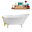 "59"" Streamline N341WH-GLD Soaking Clawfoot Tub and Tray With External Drain"