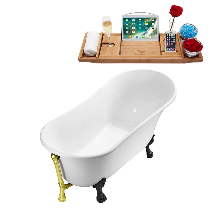 "63"" Streamline N342BL-GLD Soaking Clawfoot Tub and Tray With External Drain"