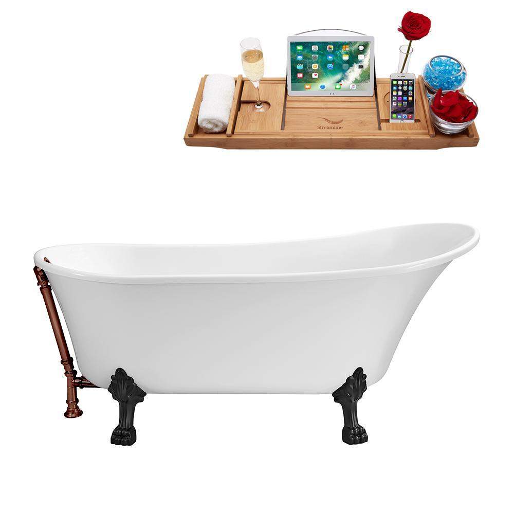 "63"" Streamline N342BL-ORB Soaking Clawfoot Tub and Tray With External Drain"