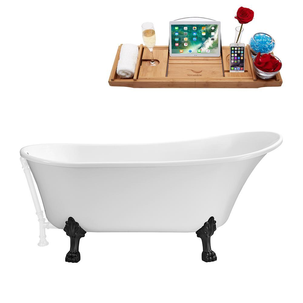 "63"" Streamline N342BL-WH Soaking Clawfoot Tub and Tray With External Drain"