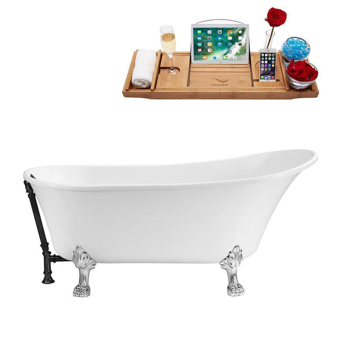 "63"" Streamline N342CH-BL Soaking Clawfoot Tub and Tray With External Drain"