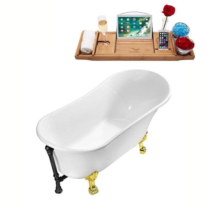 "63"" Streamline N342GLD-BL Soaking Clawfoot Tub and Tray With External Drain"