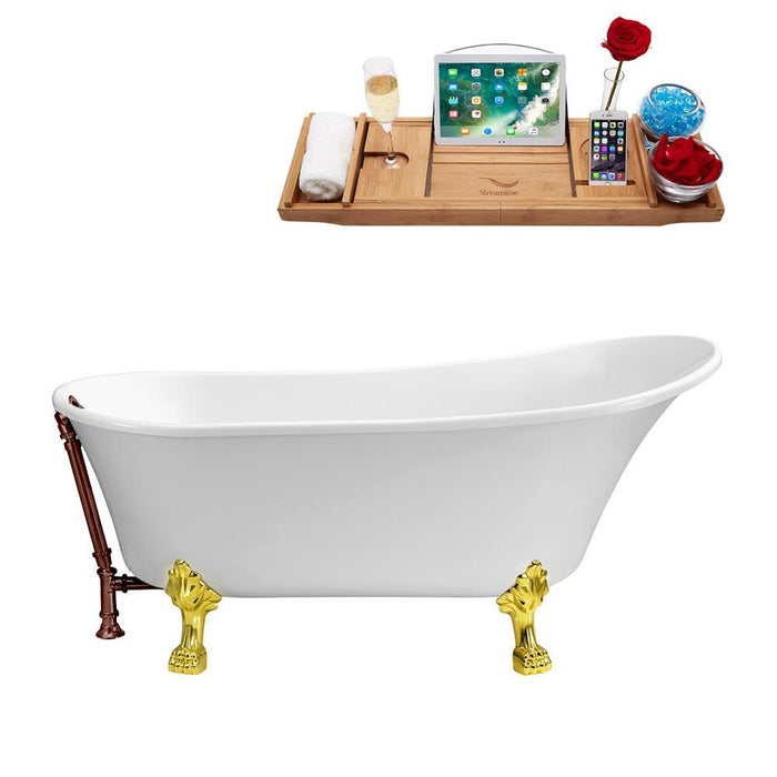 "63"" Streamline N342GLD-ORB Soaking Clawfoot Tub and Tray With External Drain"