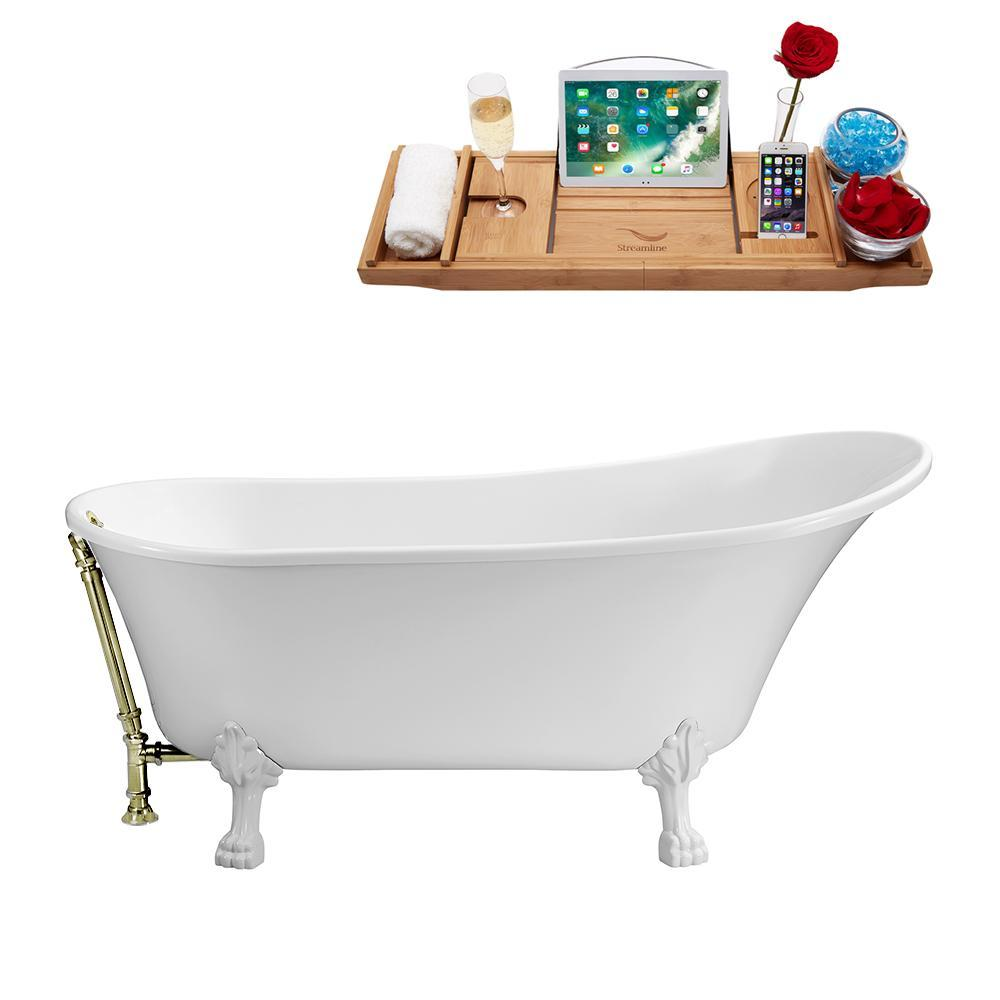 "63"" Streamline N342WH-BNK Soaking Clawfoot Tub and Tray With External Drain"