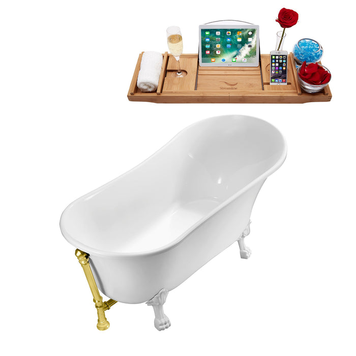 "63"" Streamline N342WH-GLD Soaking Clawfoot Tub and Tray With External Drain"