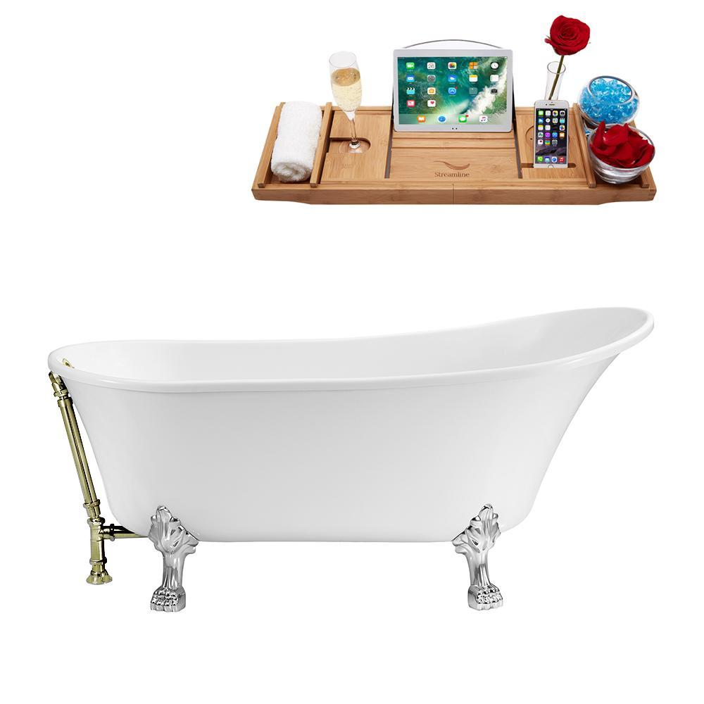 "55"" Streamline N343CH-BNK Clawfoot Tub and Tray With External Drain"