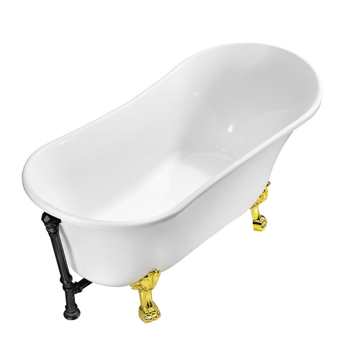 "55"" Streamline N343GLD-BL Clawfoot Tub and Tray With External Drain"