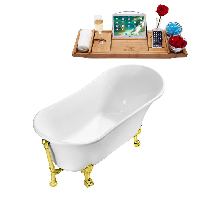 "55"" Streamline N343GLD-GLD Clawfoot Tub and Tray With External Drain"
